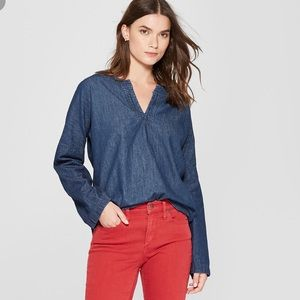 Universal Dark Wash Woven Denim Top- Medium